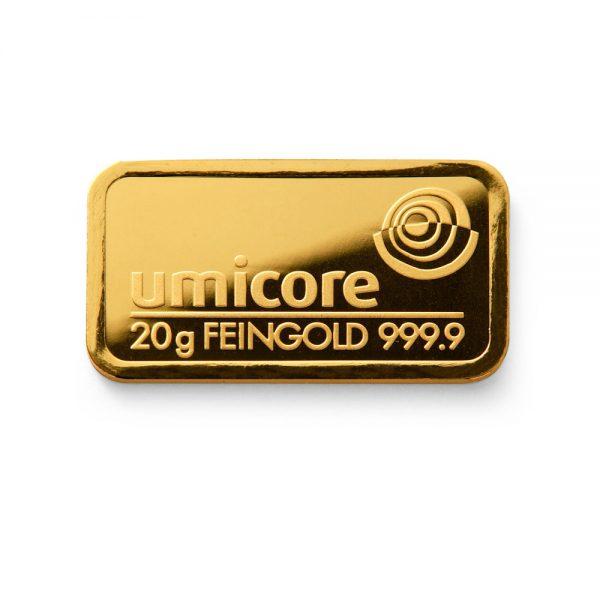 Umicore 20 gram goudbaar
