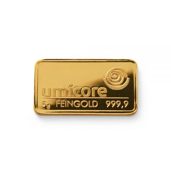 Umicore 5 gram goudbaar