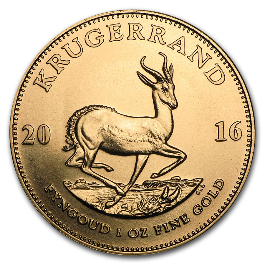 De Krugerrand 1 troy ounce gouden munt 2016 heeft de herkenbare donkere kleur in vergelijking met andere gouden munten door het gebruik van koper.