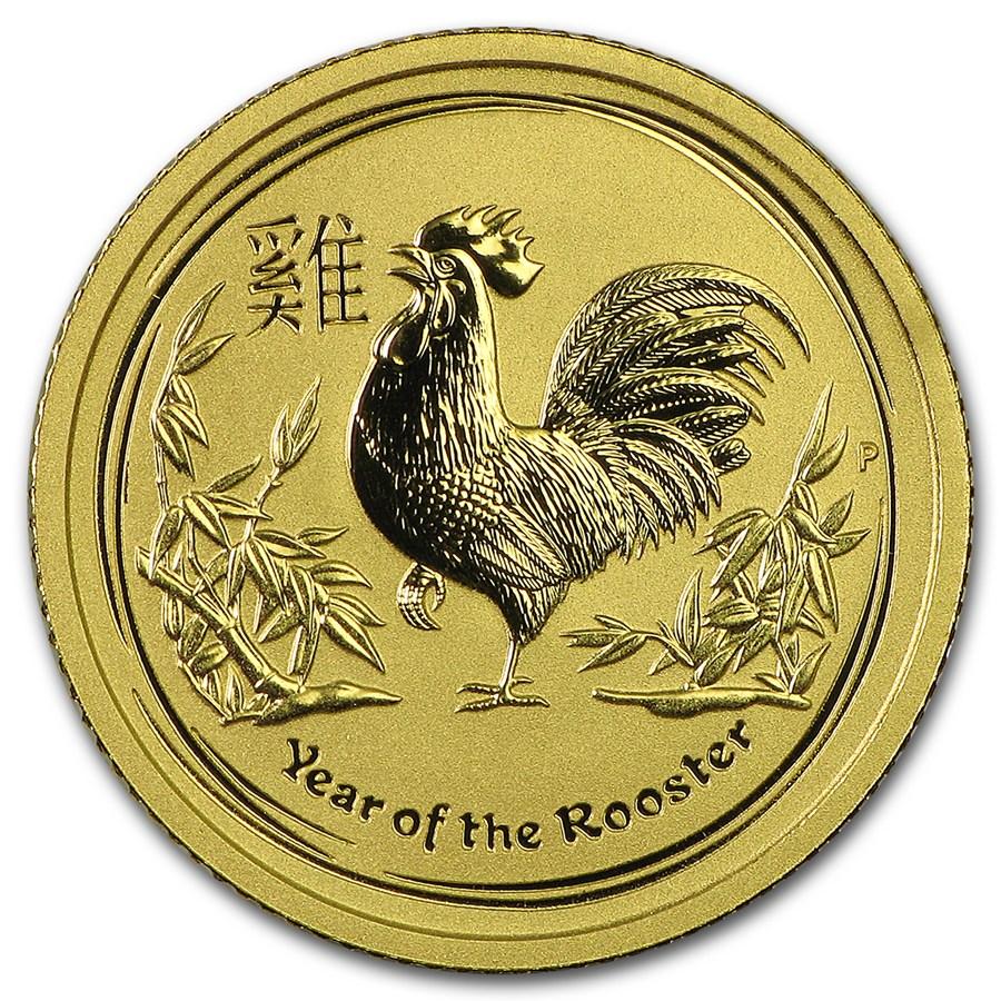 Lunar Haan 1/10 troy ounce gouden munt 2017