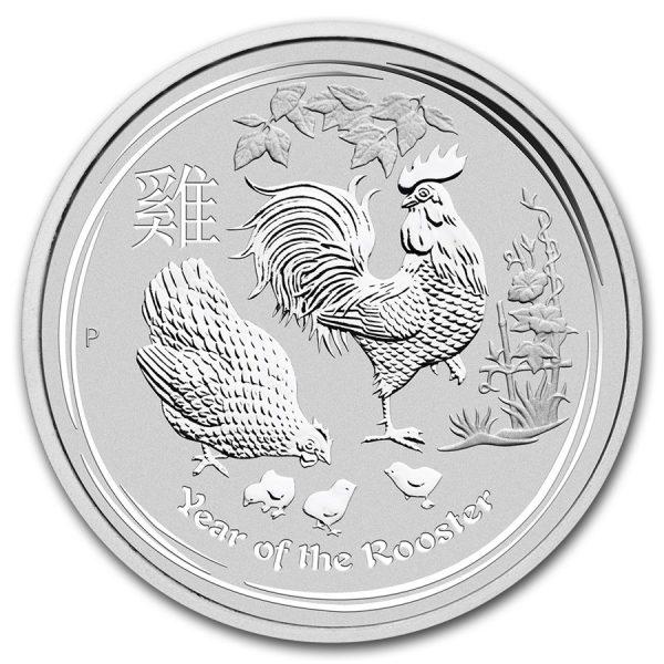 Lunar Haan 2 troy ounce zilveren munt 2017