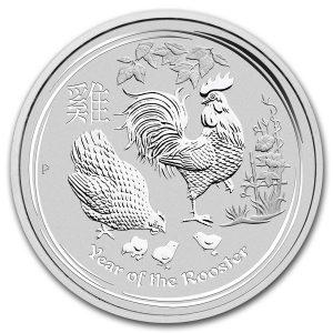 Lunar Haan 1 kilo ounce zilveren munt 2017