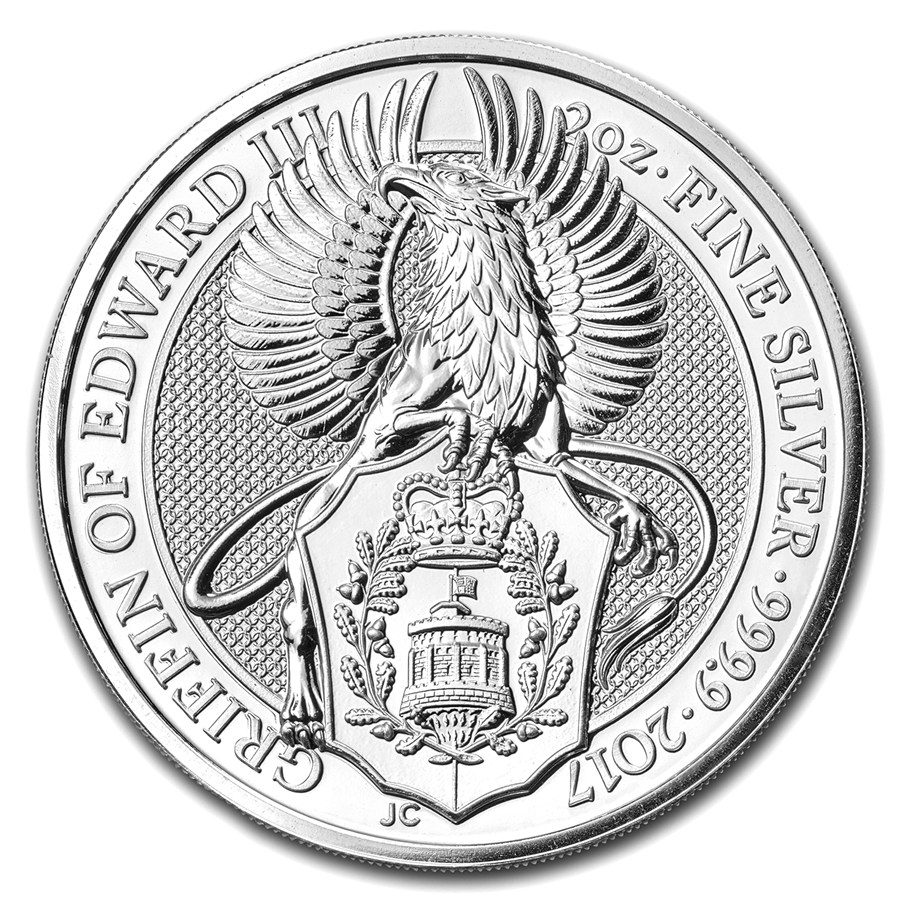 Queens Beast Griffin 2 troy ounce zilveren munt 2017