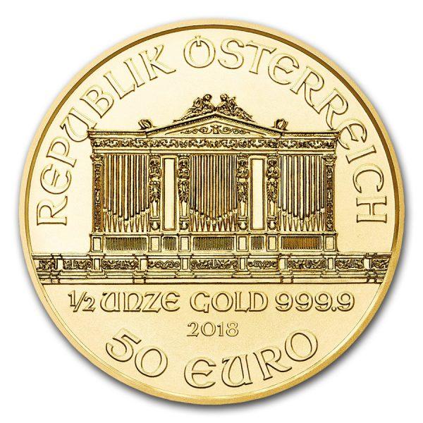 philharmoniker 1/2 oz gouden munt 2018