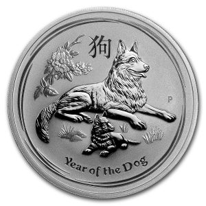 Lunar Hond 1 troy ounce zilveren munt 2018