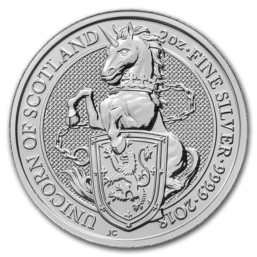 Queens Beast Unicorn 2 troy ounce zilveren munt 2018