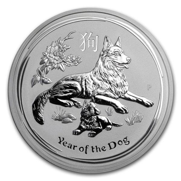 Lunar Hond 5 troy ounce zilveren munt 2018