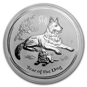 Lunar Hond 10 troy ounce zilveren munt 2018
