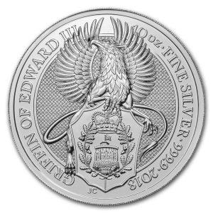 Queens Beast Griffin 10 troy ounce zilveren munt 2018