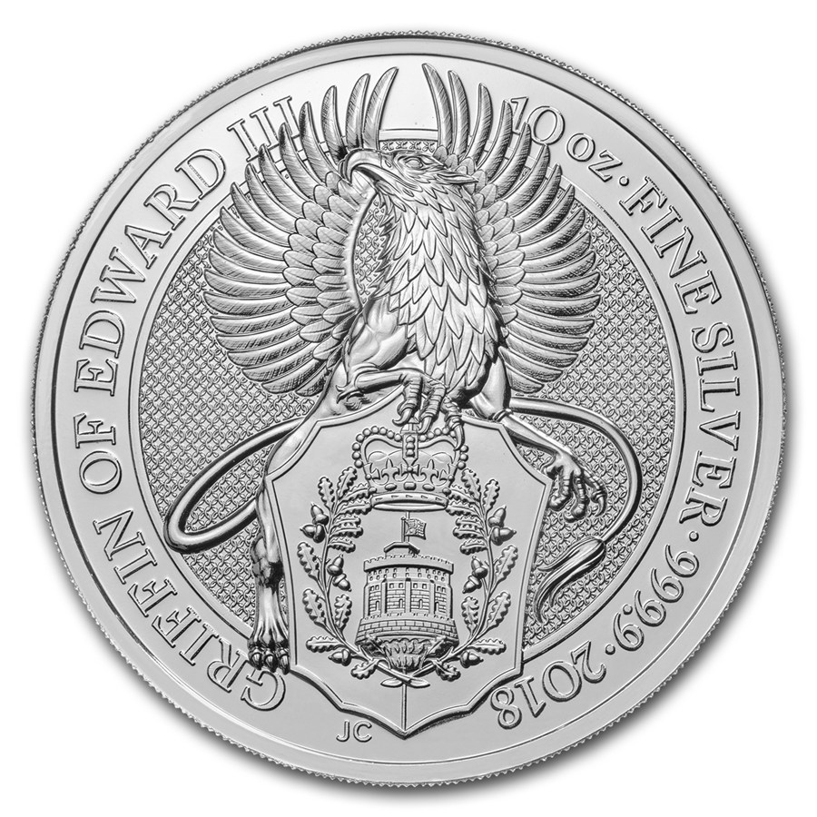 Queens Beast Griffin 10 troy ounce zilveren munt 2018