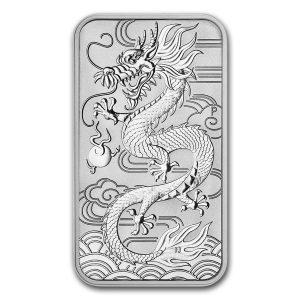 Dragon 1 troy ounce Rectangular zilveren munt 2018