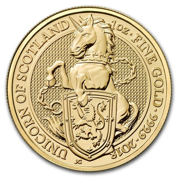 Queens Beast Unicorn 1 troy ounce gouden munt 2018