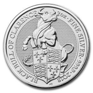 Queens Beast Bull 2 troy ounce zilveren munt 2018