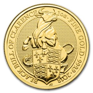 Queens Beast Black Bull 1 troy ounce gouden munt 2017