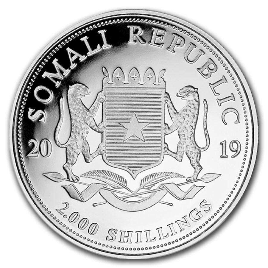 Somalische Olifant 1 kilo zilveren munt 2019