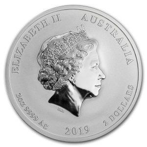 Lunar Pig 2 troy ounce zilveren munt 2019
