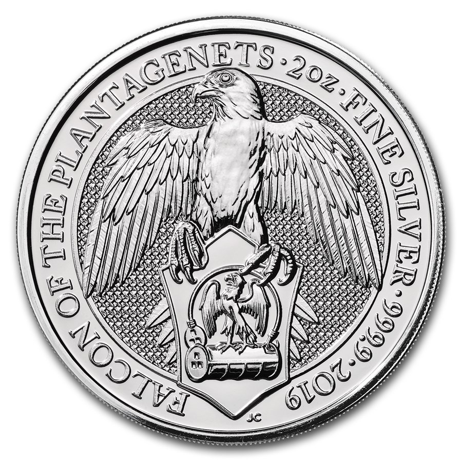 Queens Beast Falcon 2 troy ounce zilveren munt 2019