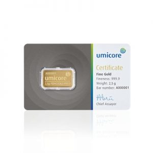 Umicore 2,5 gram goudbaar met certificaat