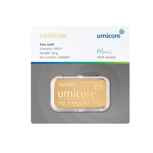 Umicore 50 gram goudbaar met certificaat