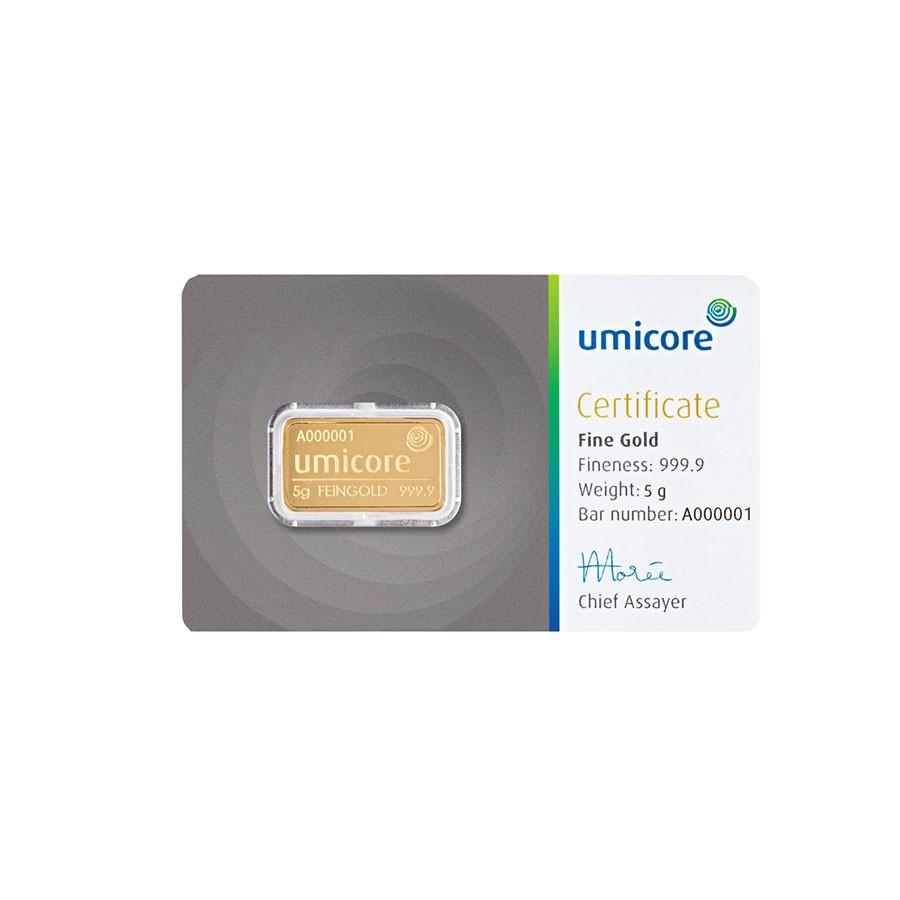 Umicore 5 gram goudbaar met certificaat