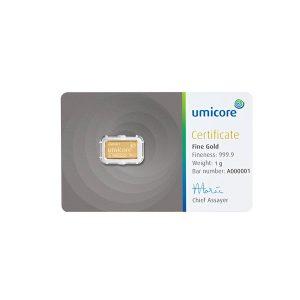 Umicore 1 gram goudbaar met certificaat