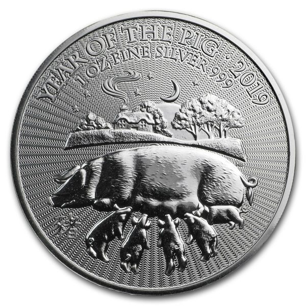 Lunar UK Year of the Pig 1 troy ounce zilveren munt 2019