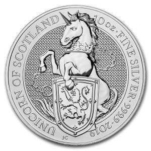 Queens Beast Unicorn 10 troy ounce zilveren munt 2019