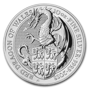 Queens Beast Dragon 10 troy ounce zilveren munt 2018
