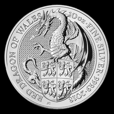 Queens Beast Dragon 10 troy ounce zilveren munt 2018
