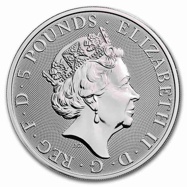 Queens Beast Yale 2 troy ounce zilveren munt 2019
