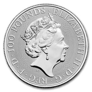 Queens Beast Dragon 1 troy ounce platina