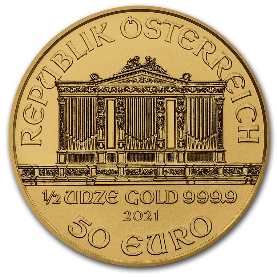 Philharmoniker 1/2 troy ounce gouden munt 2021