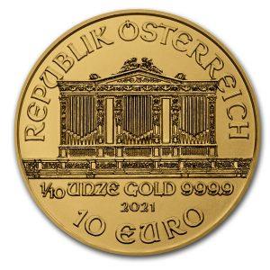 Philharmoniker 1/10 troy ounce gouden munt 2021