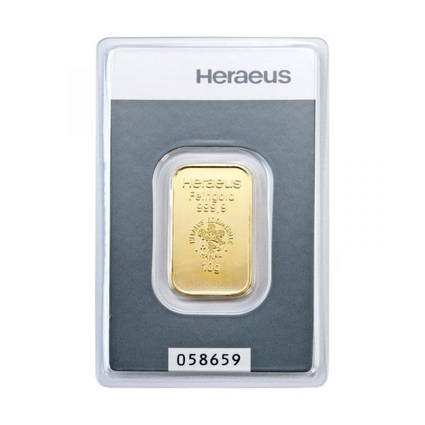 Heraeus 10 gram goudbaar