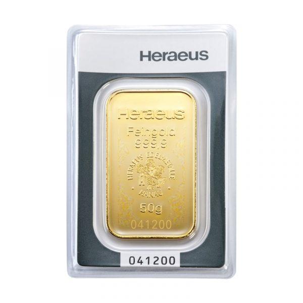 Heraeus 50 gram goudbaar