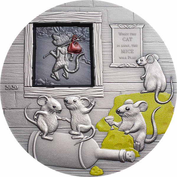 Proverbs #1 Cat & Mice 2 troy ounce zilveren munt 2020