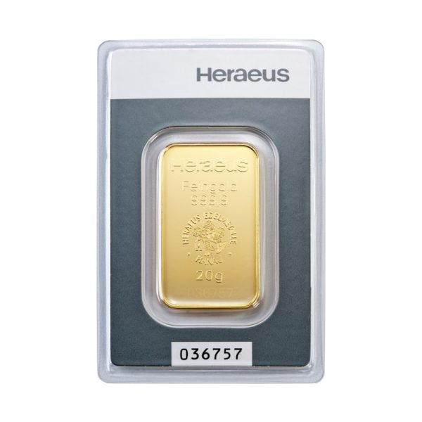 Heraeus 20 gram goudbaar