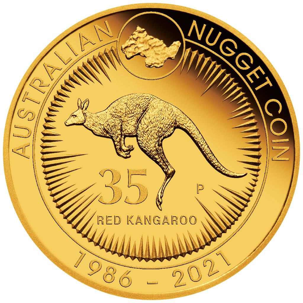 Kangaroo Nugget 35th Anniversary 2 troy ounce gouden munt 2021